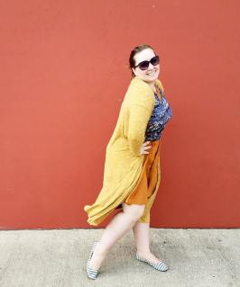 Sarah cardigan, Carly dress and Classic T